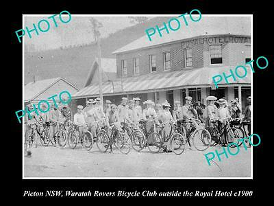 Old Large Historical Photo Of Picton Nsw, Rover Bicycle Club At Royal Hotel 1900