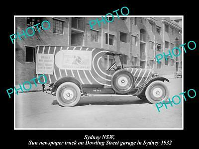 OLD LARGE HISTORIC PHOTO OF SYDNEY NSW, THE SUN NEWSPAPER DELIVERY TRUCK c1930 4