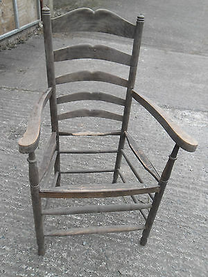 Vintage Ladder Back Carver Chair for restoration, originally with rush seat