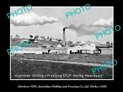 OLD LARGE HISTORICAL PHOTO OF ABERDEEN NSW, AUSTRALIAN FREEZER WORKS c1920