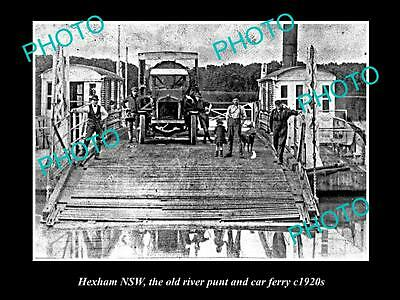 Old Large Historical Photo Of Hexham Nsw, The Old River Punt And Car Ferry 1920