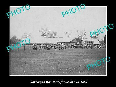 OLD LARGE HISTORIC PHOTO OF THE JONDARYAN WOOL SHEDS & SHEARERS, QLD c1869
