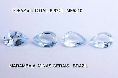 TOPAZ NATURAL MINED STONES x 4 UNTREATED TOTAL 5.67Ct  MF5210