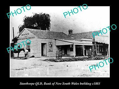 OLD LARGE HISTORIC PHOTO OF STANTHORPE QLD, BANK OF NSW BUILDING c1885