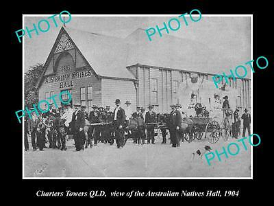OLD LARGE HISTORIC PHOTO OF CHARTERS TOWERS QLD, AUSTRALIAN NATIVES HALL c1904