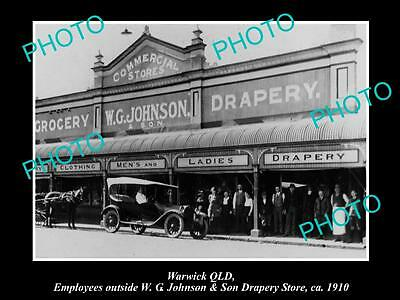 OLD LARGE HISTORIC PHOTO OF WARWICK QLD, VIEW OF JOHNSONS CLOTHING STORE c1910