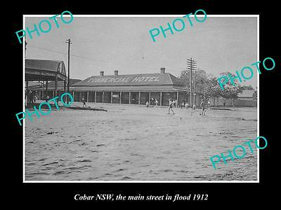 OLD LARGE HISTORICAL PHOTO OF COBAR NSW, THE MAIN STREET FLOODED c1912
