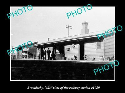 OLD LARGE HISTORICAL PHOTO OF BROCKLESBY NSW, VIEW OF THE RAILWAY STATION c1920
