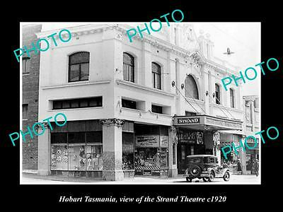 OLD LARGE HISTORIC PHOTO OF HOBART TASMANIA, VIEW OF THE STRAND THEATRE c1920