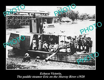OLD LARGE HISTORIC PHOTO OF ECHUCA VIC, ERIC THE PADDLE STEAMER AT WHARF c1920