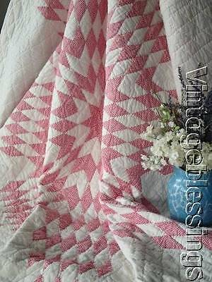 "Very nice ANTIQUE c1900 Double Pink Star QUILT 75"" x 64"""