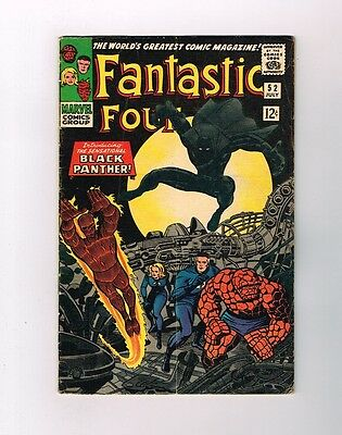 FANTASTIC FOUR #52 Silver Age key: 1st BLACK PANTHER appearance! Grade 5.0