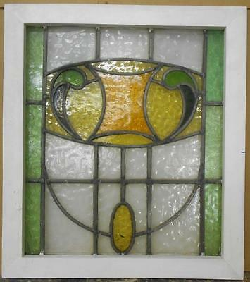 "MID SIZED OLD ENGLISH LEADED STAINED GLASS WINDOW Pretty Abstract 21.5"" x 24.25"""