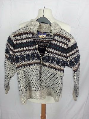 PENDLETON Lobo Gray Wool Cable Sweater Youth L Large Full Zip USA NWOT