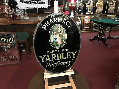 "Late 1800's Pharmacy Yardley Perfume Hanging Reverse Glass Sign "" See Video """