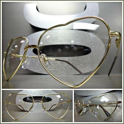 CLASSIC VINTAGE RETRO Style Clear Lens EYE GLASSES Heart Shape Gold Metal Frame