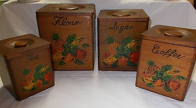 Floral Wood Dovetailed 4 Canister Set with Lids - Japan