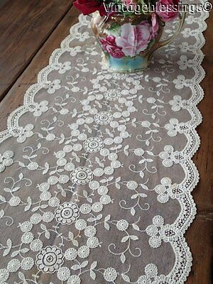 "Vintage Princess Pattern Lace Runner 51 1/2"" x 15"" French Net Ground"