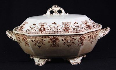 "Antique c1881-1898 Covered Tureen EFB Bodley & Son ""Iolanthe"" Brown Transferware"