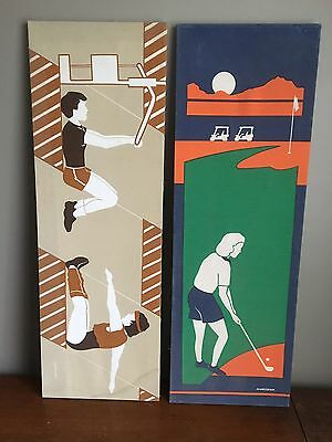 2 Vintage MARUSHKA Golf & Workout Canvas Silkscreen Prints 36X12 Sports 70s 80s