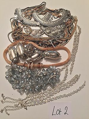 lot 2 Broken Jewellery Vintage Diamanté Crystal Shabby Chic Crafts Up Cycle