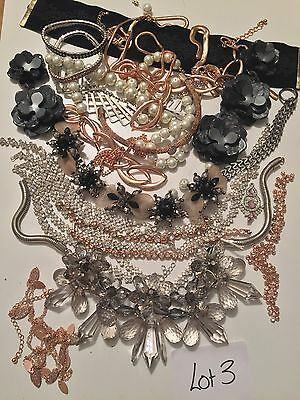 lot 3 Broken Jewellery Vintage Diamanté Crystal Shabby Chic Crafts Up Cycle