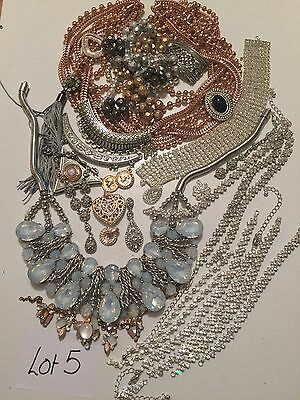 lot 5 Broken Jewellery Vintage Diamanté Crystal Shabby Chic Crafts Up Cycle