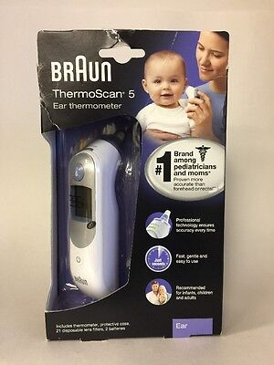 NIB Braun THERMOSCAN 5 EAR THERMOMETER IRT 6500 Protective case & 21 covers