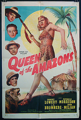 QUEEN OF THE AMAZONS original 1947 US one sheet JUNGLE GIRL