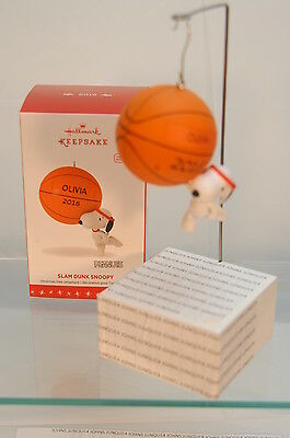 Slam Dunk Snoopy~2016 Hallmark Ornament~Basketball ~With Sticker~Free Ship In Us