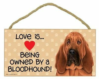 """Love is Being Owned by Bloodhound  Sign Plaque dog 10"""" x 5"""" pet gift"""