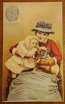 """Large Victorian Trade Card A&P PUG Dog Baby """"Confusion"""" 1884"""