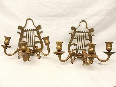 Antique Brass Lyre Harp Wall Scone Set Pair Candle Holder Serpent Dolphin Vtg