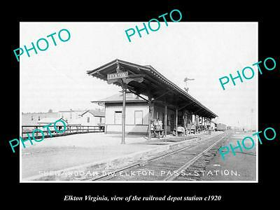 OLD LARGE HISTORIC PHOTO OF ELKTON VIRGINIA, RAILROAD DEPOT STATION c1920