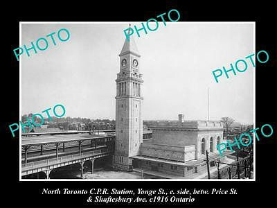 OLD HISTORIC PHOTO OF NORTH TORONTO CANADA, VIEW OF THE RAILWAY STATION c1916