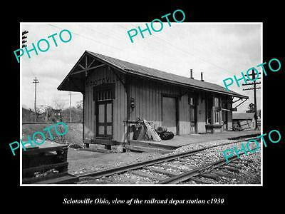 OLD LARGE HISTORIC PHOTO OF SCIOTOVILLE OHIO, THE RAILROAD DEPOT STATION c1930