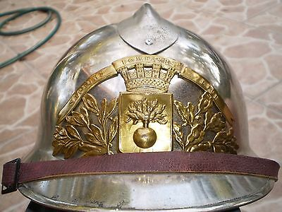 Post WW2 French M26 chrome/brass fireman's helmet from Lyon