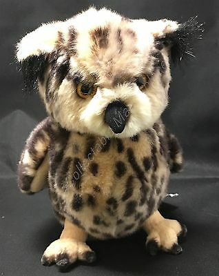 Russ Yomiko Classics realistic Brown Spotted Horned Owl Soft Plush Animal 8""
