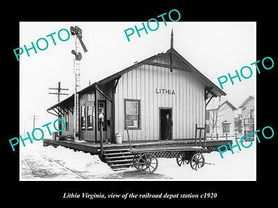 OLD LARGE HISTORIC PHOTO OF LITHIA VIRGINIA, RAILROAD DEPOT STATION c1920