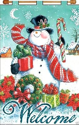 """Design Works Jeweled Beads Kit 16"""" x 24"""" Banner ~ WELCOME SNOWMAN #4230 Sale"""