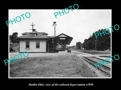 OLD LARGE HISTORIC PHOTO OF DUBLIN OHIO, THE RAILROAD DEPOT STATION c1930