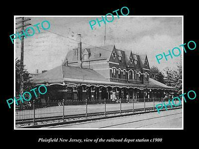 OLD LARGE HISTORIC PHOTO OF PLAINFIELD NEW JERSEY, THE RAILROAD DEPOT c1900