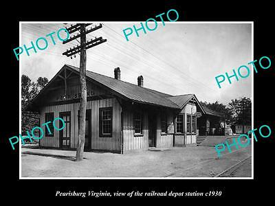 Old Large Historic Photo Of Pearisburg Virginia, The Railroad Depot Station 1930