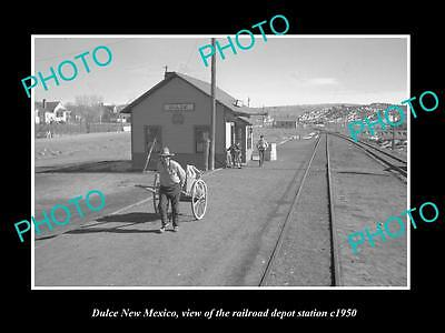 OLD LARGE HISTORIC PHOTO OF DULCE NEW MEXICO, THE RAILROAD DEPOT STATION c1950