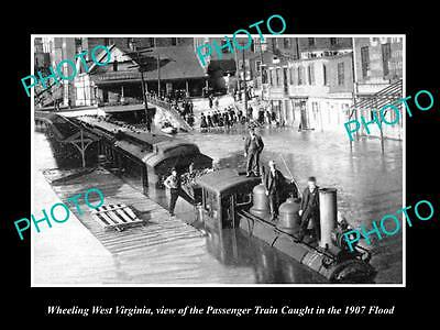 Old Large Historic Photo Of Wheeling West Virginia, Train Caught In 1907 Flood