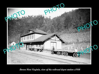 OLD LARGE HISTORIC PHOTO OF DEVON WEST VIRGINIA, THE RAILROAD STATION c1930