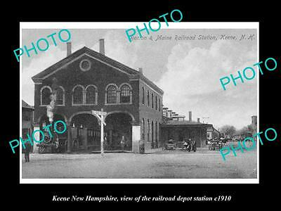 OLD LARGE HISTORIC PHOTO OF KEENE NEW HAMPSHIRE THE RAILROAD DEPOT STATION c1910
