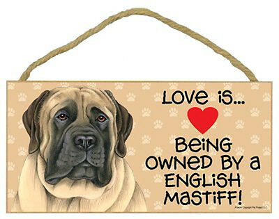 """Love is Being Owned by English Mastiff Sign Plaque dog 10"""" x5"""" pet gift"""