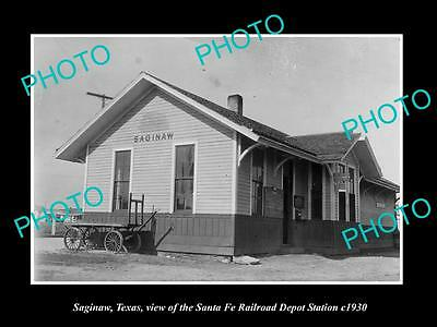 OLD LARGE HISTORIC PHOTO OF SAGINAW TEXAS, THE RAILROAD DEPOT STATION c1930