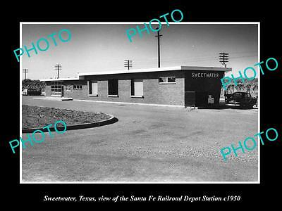 OLD LARGE HISTORIC PHOTO OF SWEETWATER TEXAS, THE RAILROAD DEPOT STATION c1950